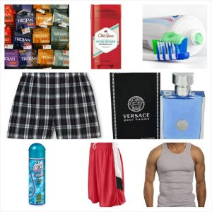 (top row, l-r) condoms, deodorant, toothbrush and toothpaste; (center, l-r) boxers, cologne; (bottom, l-r) water-based lubricant, basketball shorts, undershirt tank top