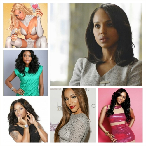 Famous Sidechicks: Emma Frost (top left), Olivia Pope (top right), Mary Jane Paul (middle left), Joseline Hernandez (bottom left), Amina Buddafly (bottom center), and Mary Jane (bottom right)
