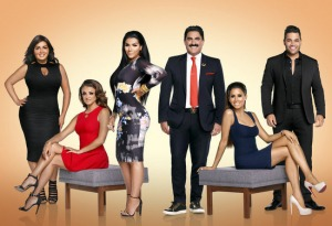 "Season $ cast of ""Shahs of Sunset;"" (from left to right)Mercedes ""MJ"" Javid, Golnesa ""GG"" Gharechadaghi, Asa Soltan Rahmati, Reza Farahan, Asifa Mirza, and Mike Shouhed"