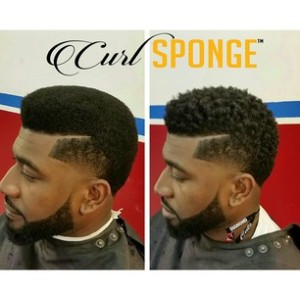 Before (l) and after (r) using The Curl Sponge