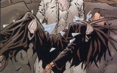 Emma Frost holding Ellie's corpse