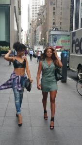 Demetria (l) and Claudia (r) leaving Viacom