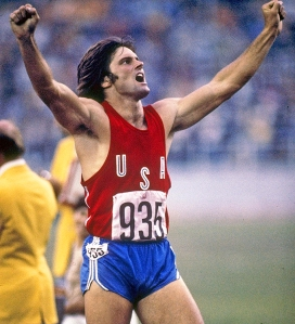 Jul 1976: Bruce Jenner of the USA celebrates during his record setting performance in the decathlon in the 1976 Summer Olympics in Montreal, Canada. Mandatory Credit: Tony Duffy /Allsport