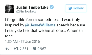 , Justin Timberlake (@jtimberlake) Tries–and FAILS-to defend Himself Over Tweet About Jesse William's Acceptance Speech at BET Awards!