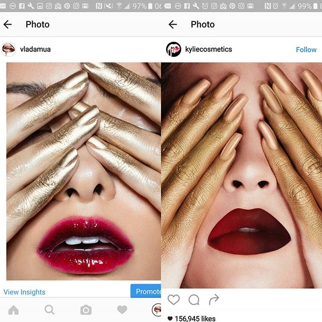 Really @kyliecosmetics? Haven't you gotten enough 'inspiration' from me already? Left is a the work @juliakuzmenko, @brittrafuson and I shot a few months ago and right is @kyliecosmetics new campaign.