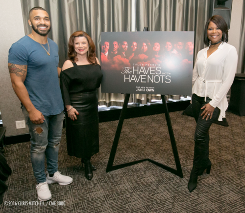 (l-r) Tyler Lepley, Renee Lawless, and Angela Robinson at the haves and the have nots atlanta press lunch