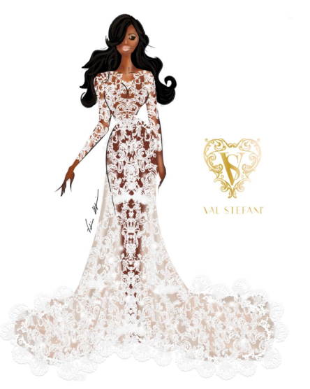 val stefani sketches for serena williams wedding gown