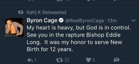 byron cage tweeting about eddie long death