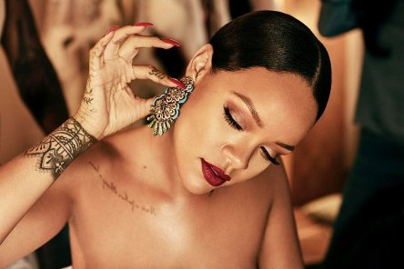 Rihanna getting ready for the Rihanna x Chopard dinner