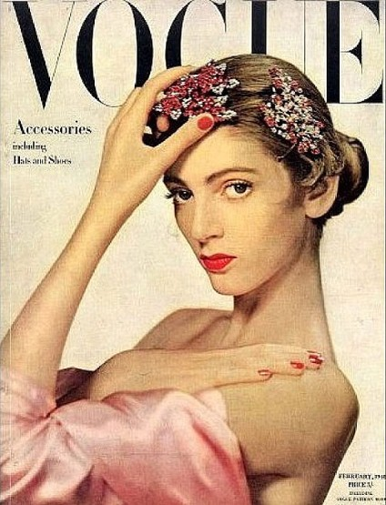 Carmen Dell'Orefice on the October 1947 cover of Vogue