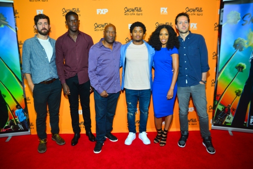 Carter Hudson, Damson Idris, John Singleton, Isaiah John, Angela Lewis, Dave Andron at fx snowfall screening in atlanta