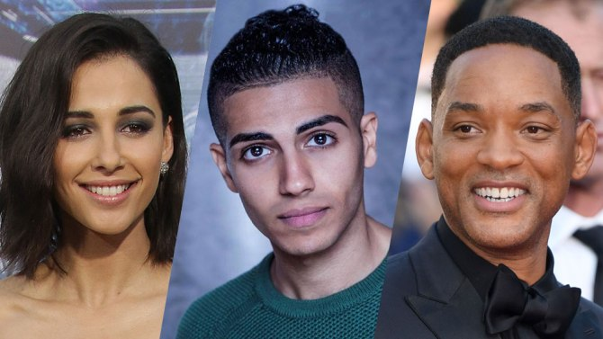 Casting for Disney's Aladdin; will smith, naomi scott, and mena massoud