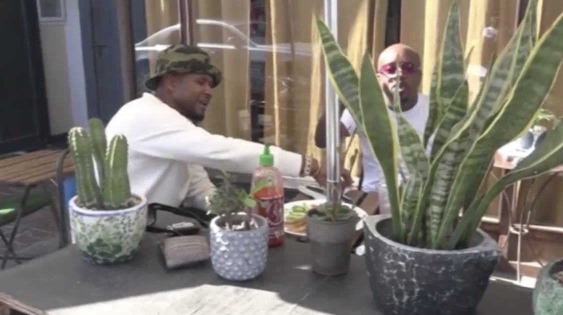 usher and jermaine dupri having lunch